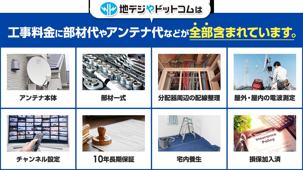 地デジやドットコムは工事料金に部材代やアンテナ代などが全部含まれています。
