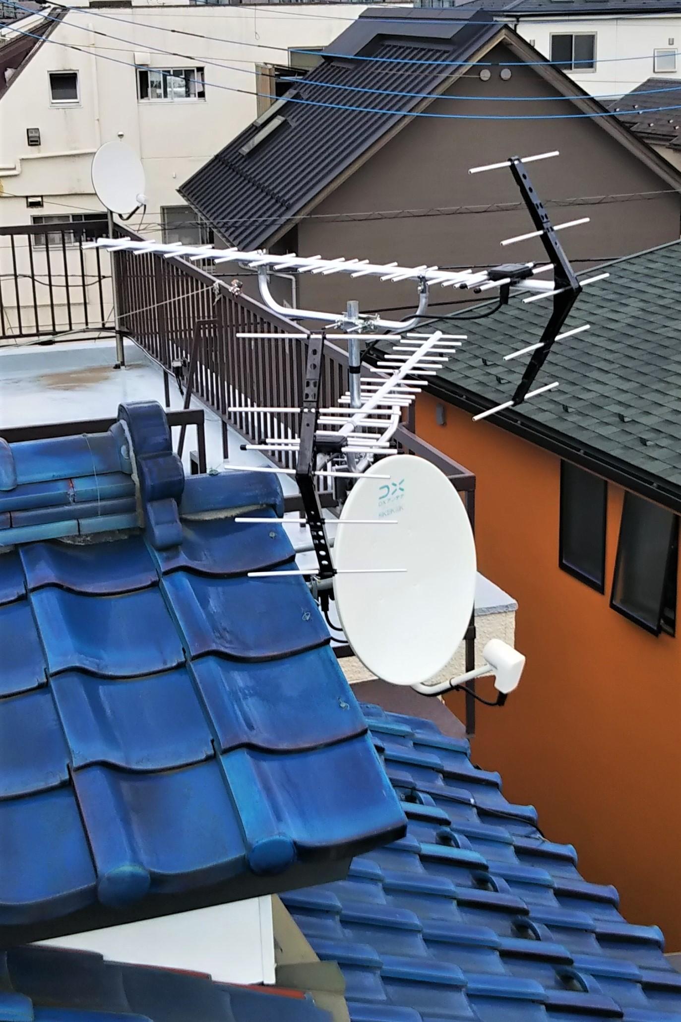 八木式アンテナとBS/CSアンテナのセット