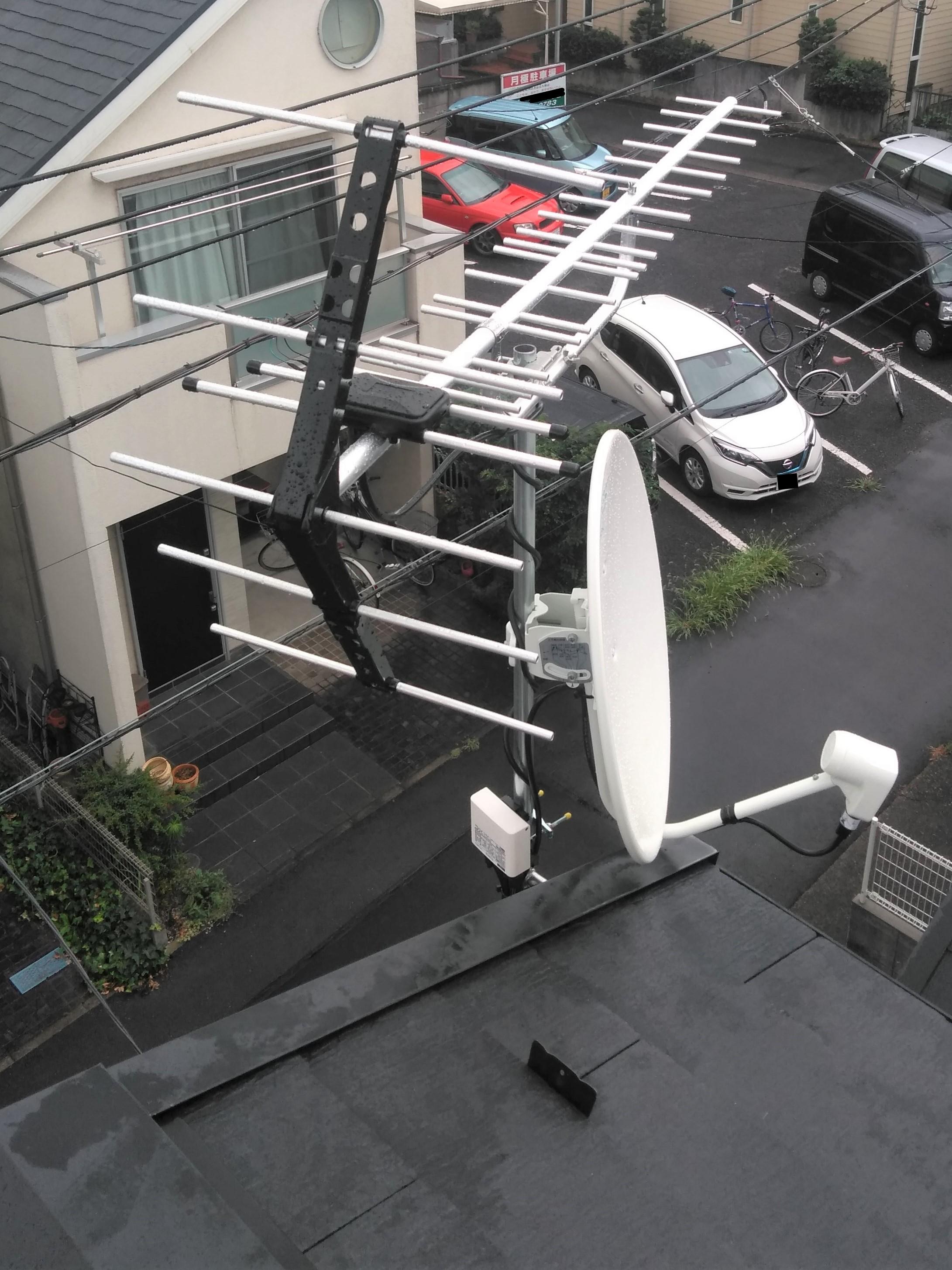 破風に設置した八木式アンテナ