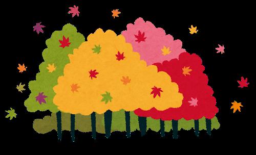 紅葉する山並みのイラスト