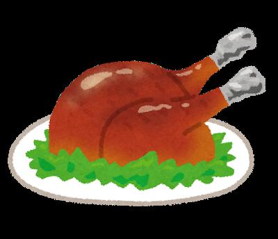 七面鳥の丸焼きのイラスト